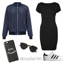 """Navy Bomber Jacket Outfit Inspiration"" by divastar765 on Polyvore featuring WearAll, adidas Originals and Christian Dior"