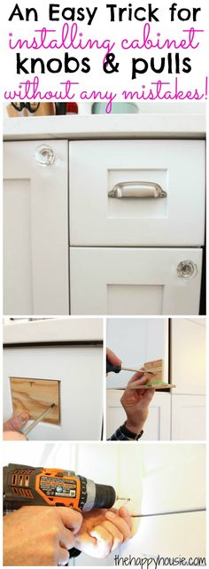 An Easy Trick for installing cabinet knobs and pulls without making any mistakes at The Happy Housie