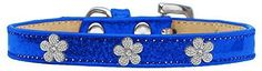 Mirage Pet Products Flower Widget Dog Collar, Size 20, Blue/Silver