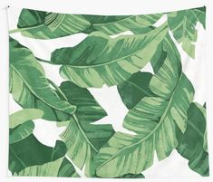 'Tropical banana leaves II' Tapestry by CatyArte Thing 1, Textile Prints, All Print, Wall Tapestry, Vivid Colors, Plant Leaves, Tropical, Banana, Awesome