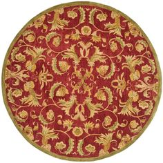 @Overstock - Handmade Flora Burgundy Wool Rug (6' Round) - This rug derives its sheen from an ancient pot-dying technique Traditional rug is hand-tufted from 100-percent hand-spun wool Area rug displays rich shades of gold, red, burgundy and green  http://www.overstock.com/Home-Garden/Handmade-Flora-Burgundy-Wool-Rug-6-Round/4612963/product.html?CID=214117 $176.79