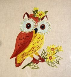 Groovy Owl Embroidery. https://www.etsy.com/listing/185385581/harvest-hued-happy-hooter-hand-made-owl