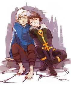 Art by Beanclam for an awesome AU by asidian on tumblr where Jack Frost and Kid Loki become friends. Adorable! (part 1 here: http://asidian.tumblr.com/post/37245803127/in-which-two-creatures-of-ice-without-any-friends-find, art here: http://beanclam.tumblr.com/post/40242832248/ok-so-housemate-is-very-good-at-enabling-stuff)