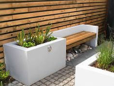 A Small Contemporary Garden - Woodpecker Garden and Landscape Designs Contemporary Garden Design, Modern Landscape Design, Garden Landscape Design, Modern Landscaping, Outdoor Landscaping, Outdoor Gardens, Concrete Garden Bench, Small Back Gardens, Back Garden Design