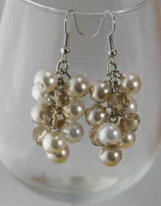 Pearl cluster earrings in champagne white ivory with crystals.  Bridesmaids jewelry-wedding jewelry. $9.00, via Etsy.