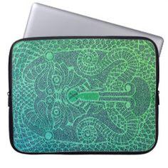 Customizable abstract Dragon Laptop Case green/blu Neoprene Laptop Sleeve, Laptop Sleeves, Copper Dragon, Custom Laptop, Front Bottoms, Norse Mythology, Celtic Designs, Day Up, Laptop Case