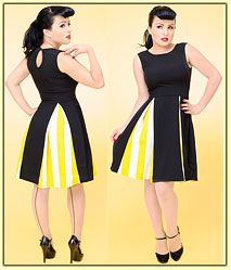Daddy-O's is your source for Stop Staring Clothing, dresses, retro dresses, rockabilly and swing dresses, poodle skirts and saddle shoes Saddle Shoes, Vintage Inspired Fashion, Yellow Stripes, Retro Dress, Swing Dress, Pleated Skirt, Creative Ideas, Sew, Dresses For Work