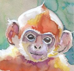 monkey water color