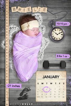 Fun and creative newborn baby birth announcement!