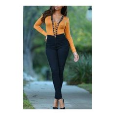 Yellow Plunge V-neck Bodysuit with Front Drawstring ($18) ❤ liked on Polyvore featuring playsuit romper, long sleeve romper, yellow romper, long sleeve v neck romper and drawstring romper