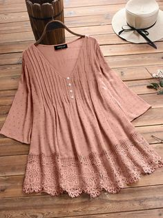 Women Casual Lace Cutout Tops Tunic Blouse Shirt – noravova linen blouses for women,linen blouses outfit,linen blouses Cotton Blouses, Shirt Blouses, Shirts, Tunic Tops, Tunic Blouse, Linen Blouse, Blouse Outfit, Blouse Designs, Blouses For Women