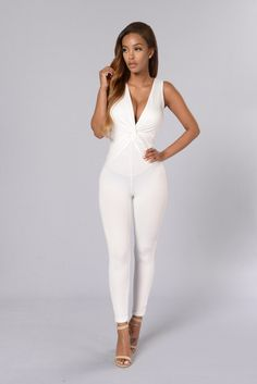 - Available in White and Olive - Deep V Neckline - Knot Detail - Sleeveless - Skinny Leg - Made in USA - 97% Polyester, 3% Spandex