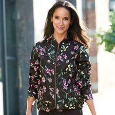 Avon's Feeling Floral Anorak Jacket is a water-resistant and wind-resistant jacket. Black with floral design. Shop now! Avon Clothing, Avon Fashion, Floral Print Design, Anorak Jacket, Signature Collection, Lightweight Jacket, Different Styles, Clothes For Women, Avon Products