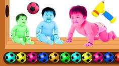 Learn Colors with WOODEN FACE HAMMER XYLOPHONE BAD BABY Soccer Balls for...