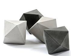 Concrete diamond, one large cement trigonal dodecahedron, paperweight, geometric cement home decor, modern concrete sculpture