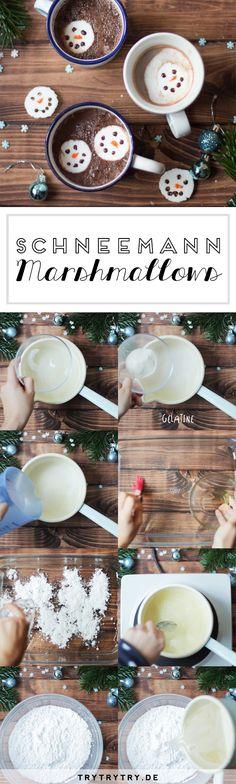 Schneemann-Marshmallows für heiße Schokolade