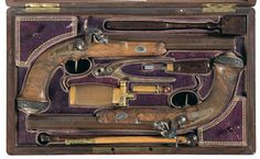 Presentation Cased Pair of Engraved and Gold/Silver Inlaid Le Page Percussion Pistols with Inscribed Plaque -A) Le Page Dueling Pistol