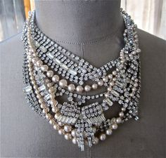 Rhinestone Pearl Necklace Bridal Bib Statement Necklace