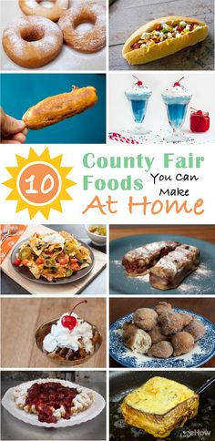 It's county fair season and who doesn't love to indulge in the rich, decadent and usually deep-fired treats! If you can't make it out (or want to throw our own fair-themed party this summer) you need to check out how you can replicate the most classic recipes: http://www.ehow.com/how_12340818_county-fair-foods-can-make-home.html?utm_source=pinterest.com&utm_medium=referral&utm_content=curated&utm_campaign=fanpage