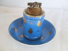 Vintage Blue Cigarette lighter matching by ButtonsBitsnBaubles, $26.00