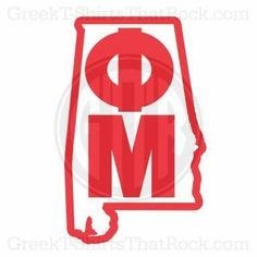 Phi Mu with state outline. Buy your sorority bid day, recruitment, and fraternity rush shirts with GreekT-ShirtsThatRock today! (800) 644-3066 #GTTR
