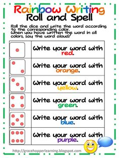 i see i spell i learn | use this FREE Rainbow Writing Roll & Spell sheet when my students ...