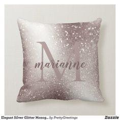 Elegant Silver Glitter Monogram Custom Name Throw Pillow