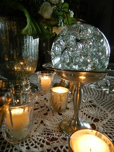 Lynne's Gifts From the Heart: ~Winter Mercury and Ice Tablescape Mercury Glass, Tablescapes, Ice, Table Decorations, Heart, Winter, Gifts, Furniture, Design
