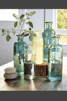 Shop recycled glass jars from west elm. Find a wide selection of furniture and decor options that will suit your tastes, including a variety of recycled glass jars. Recycled Glass Bottles, Vintage Bottles, Bottles And Jars, Bottle Candles, Antique Bottles, Bottle Vase, Eco Furniture, Glass Jug, Sea Glass