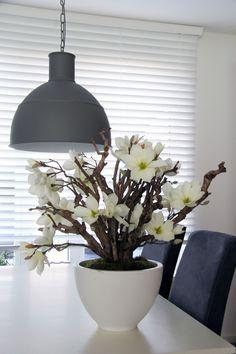 Witte magnolia, in witte pot. zijde bloemen decoratie. www.decoratietakken.nl Halle, Indoor Plants, Ceiling Lights, Pendant, Home Decor, Life, Large Floral Arrangements, Flower Arrangements, Tv Wall Decor