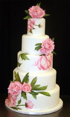 Stunning! ~ Hand painted Sugar Peonies Wedding Cake ~ all edible. Found on http://oh-brides.com #weddingcake #pink
