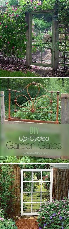 DIY Up-Cycled Garden Gates • Ideas & Tutorials  screen door, headboard, bed frame, window as garden gates #GardenGate