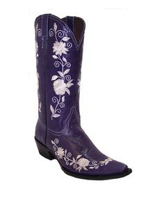 Love this Pecos Bill Purple Embroidered Floral Leather Cowboy Boot by Pecos Bill on #zulily! #zulilyfinds