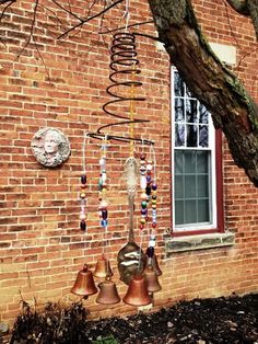 The wind chimes are made from vintage bed springs which create a charming spiral form to start your project. http://hative.com/diy-bed-spring-crafts/