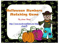 Halloween Numbers Matching Game from Stress Free Kindergarten on TeachersNotebook.com (20 pages)  - This  game contains 62 cards that consist of the following:Numbers: 0 to  20Words: zero to twentyCandy : zero treat to 20 treats.