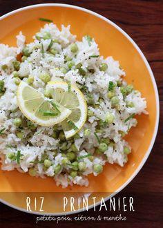 Riz pilaf aux petits pois, citron & menthe. Pilau rice with sweet peas, lemon & fresh mint.