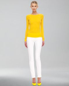 Cashmere Button-Shoulder Top & Skinny Jeans by Michael Kors at Bergdorf Goodman.