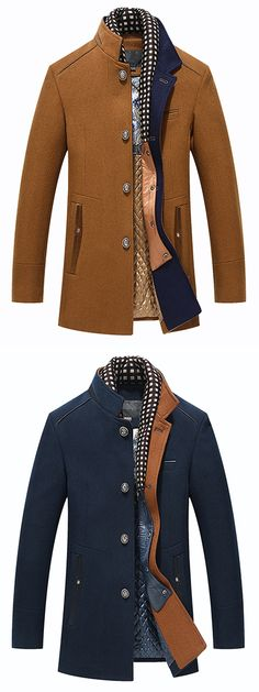 US$87.34 + Free shipping. Size: S~2XL. Color: Deep Blue, Khaki, Black. Fall in love with casual and business style! Autumn Winter Casual Slim Fit Stand Collar Scarf Detachable Stylish Woolen Overcoat Jacket for Men. #mens #winter #jacket