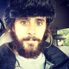 Here, Jared Leto takes the #nomakeupselfie to a whole new level. Who needs society's rules about traditional male grooming when you've got a beard that mirrors your fancy fur cap?