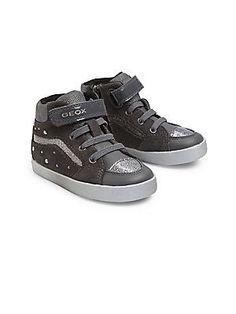 Geox Baby's Kiwi Leather Sneakers - Charcoal