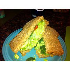 Edamame and avocado salad sandwich