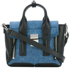 3.1 Phillip Lim Pashli mini satchel (1,135 CAD) ❤ liked on Polyvore featuring bags, handbags, black, genuine leather purse, mini purse, genuine leather handbags, top handle satchel handbags and leather satchel