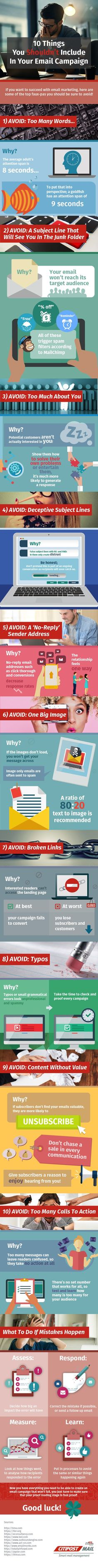 10 Things You Shouldn't Include in Your #EmailMarketing Campaigns #Infographic