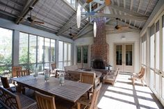 amazing (enormous) screened porch with fireplace