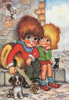 St. Wold ......   Jack samen met zijn Carolientje  zitten op een stenen trapje..... met z'n gitaar....  poes en hondje erbij....