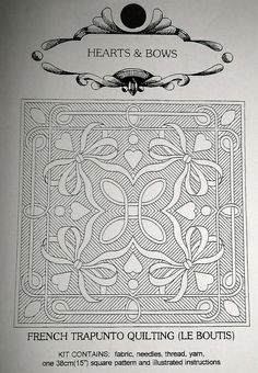 French Trapunto Quilting - Le Boutis by Swede-Heart, via Flickr