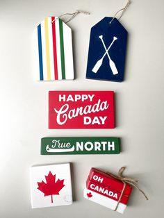 Bay Canada, Canada Eh, Creative Crafts, Diy And Crafts, Canada Day Crafts, Stencils For Wood Signs, Leaf Stencil, Wood Tags, Holiday Crafts
