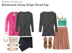 Market and Spruce Brentwood Jersey Stripe Tiered Top - Size L - $68 (SF#5 - Kimberly)