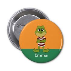 Button with green frog cartoon
