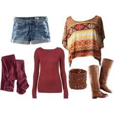 Not the long sleeves or socks or boots with the shorts but that top is adorable!